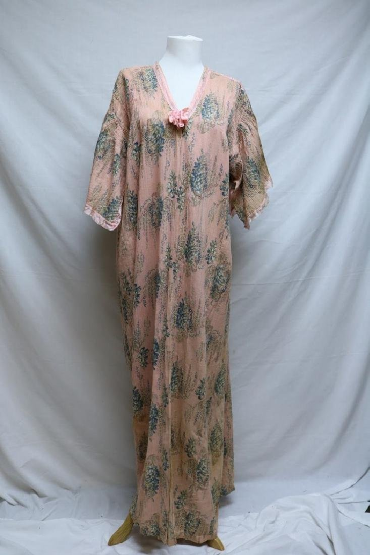 Edwardian Gauze Floral Robe with Silk Trim