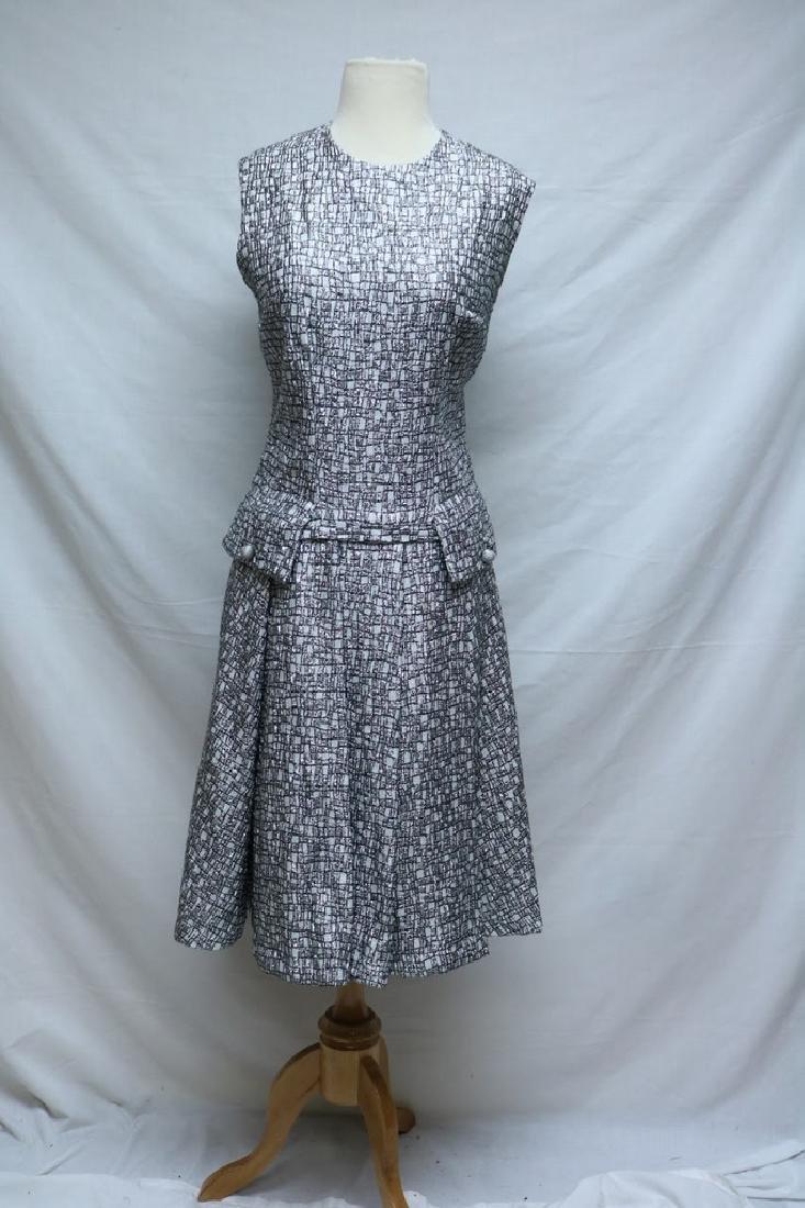 1960's  Silver Lurex Dress with drop waist