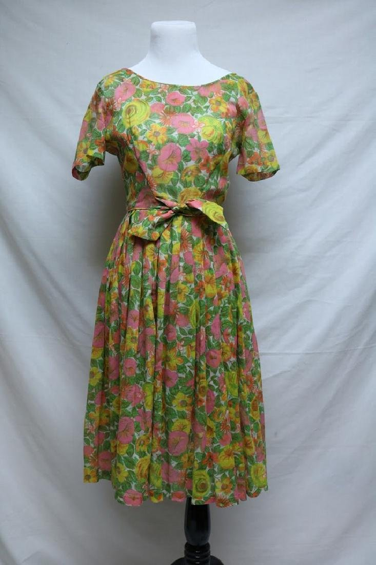 1960's Neon Floral Dress by Kay Windsor