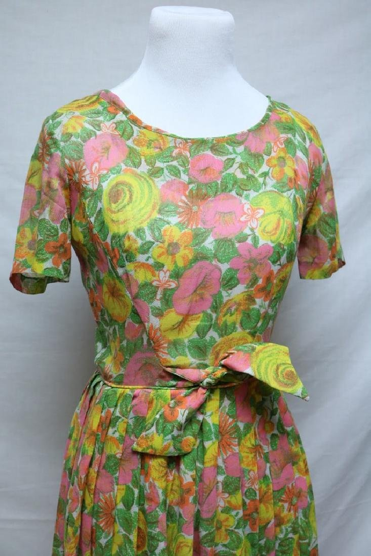 1960's Neon Floral Dress by Kay Windsor - 3