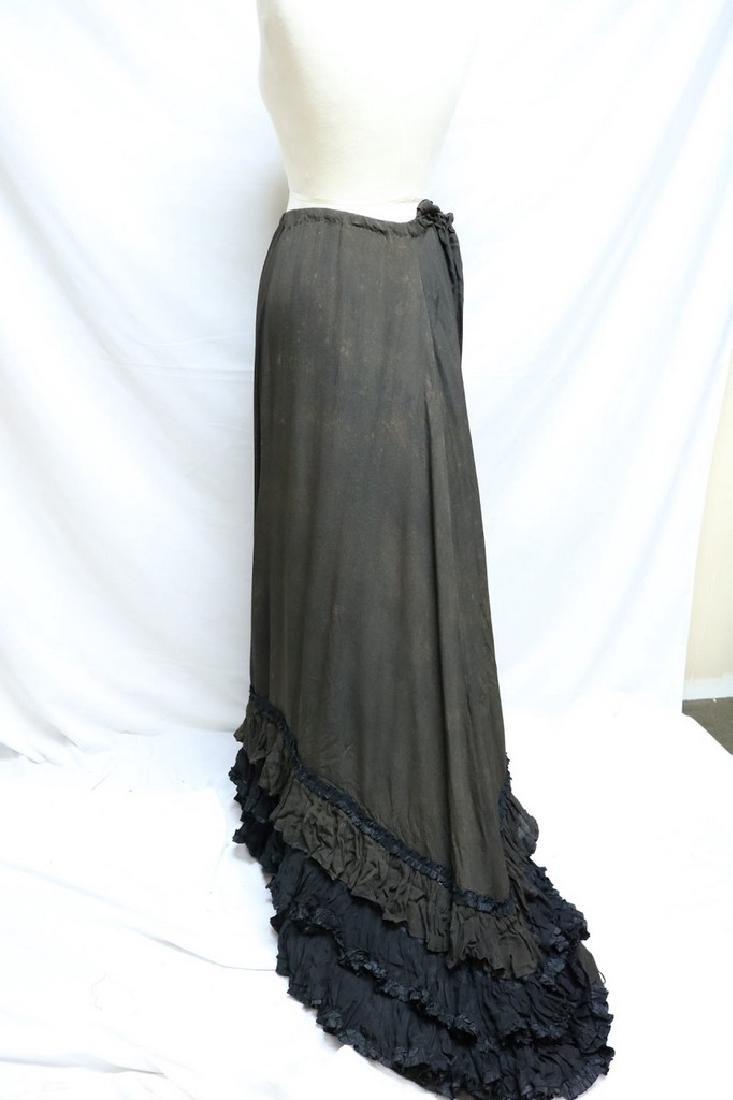 Victorian Silk Petticoat, with tiered Silk Ruffled Hem - 3