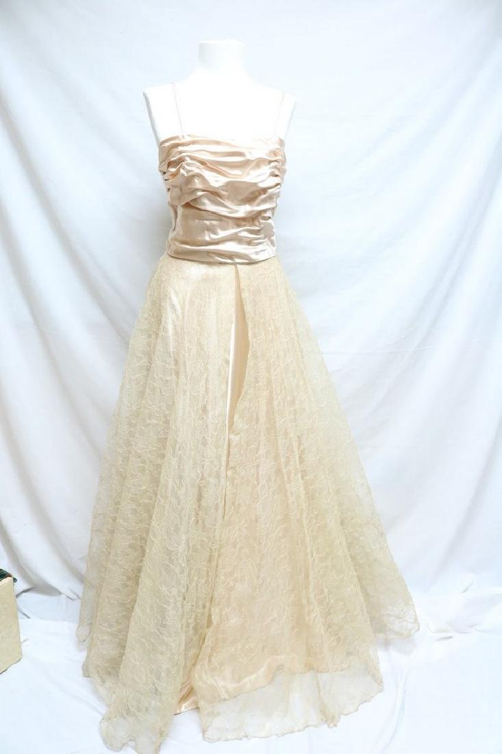 1940's Blush Satin & Lace Gown