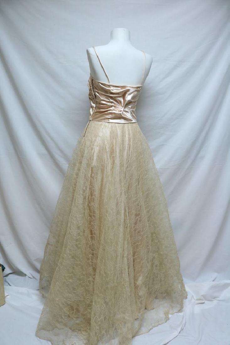 1940's Blush Satin & Lace Gown - 3