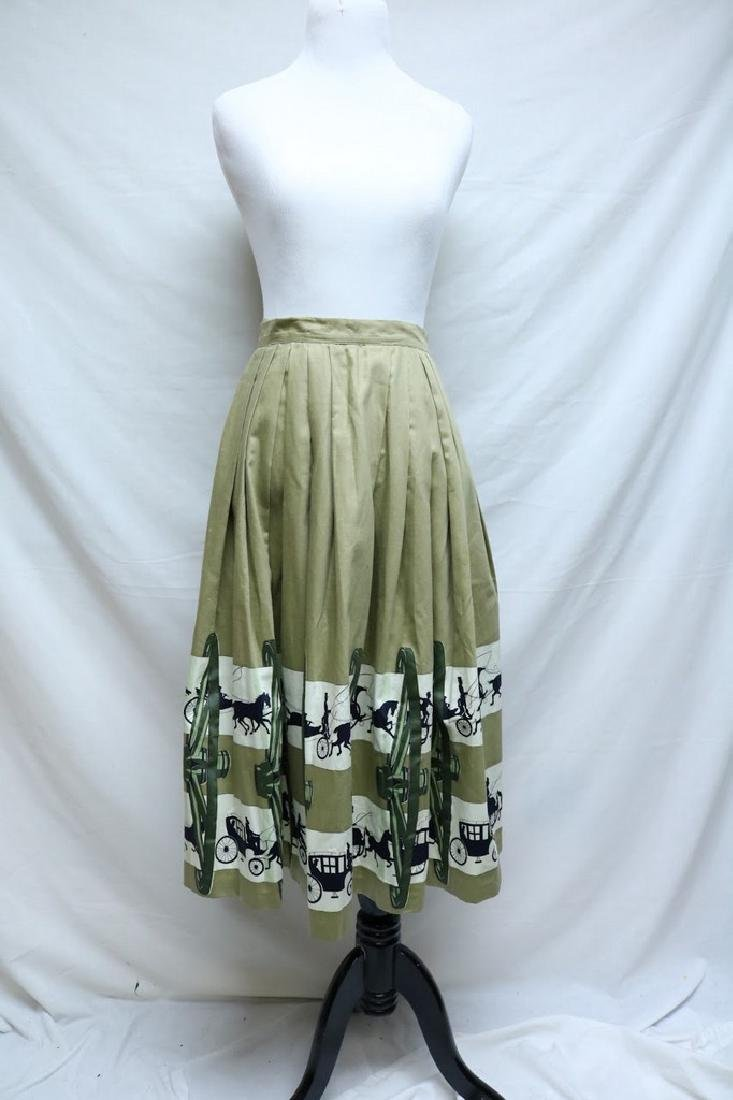 1950's Horse & Carriage Novelty Print Skirt
