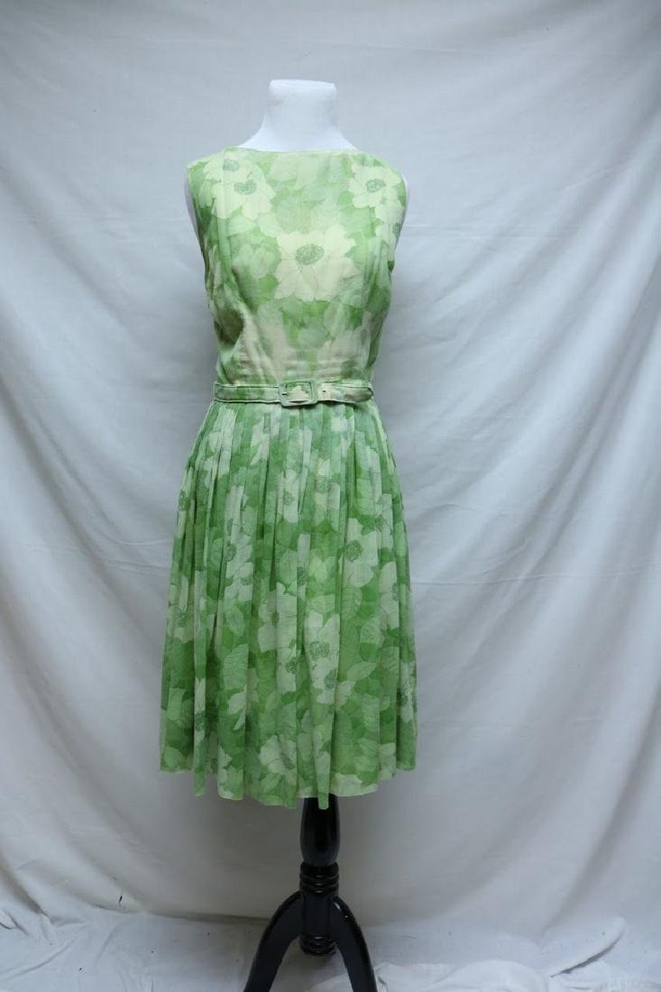 1960's Lime Green Floral Adele Maxim Dress