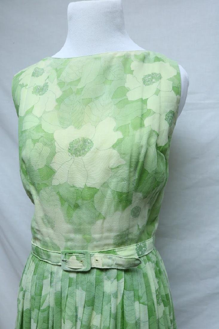 1960's Lime Green Floral Adele Maxim Dress - 2