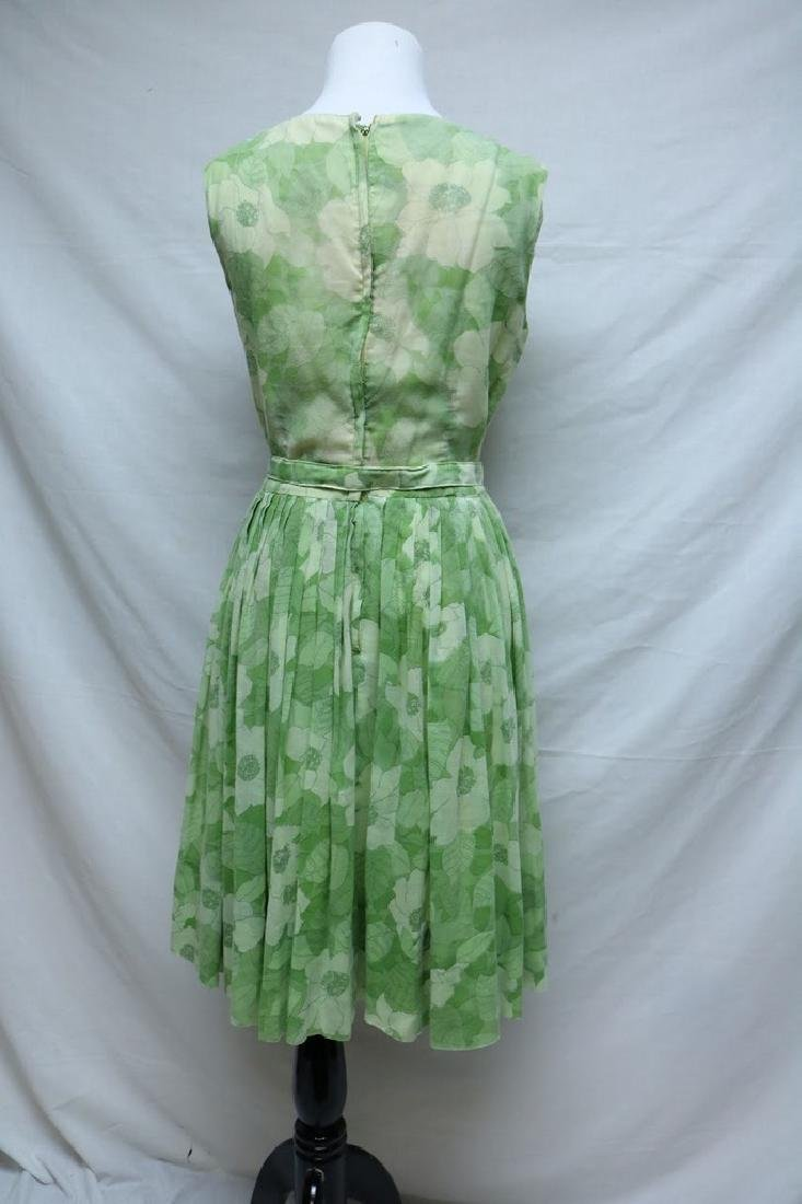 1960's Lime Green Floral Adele Maxim Dress - 3