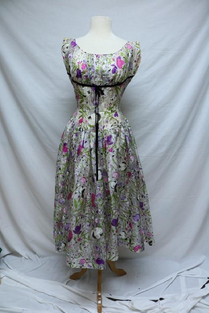 1950's Floral Organza Party Dress