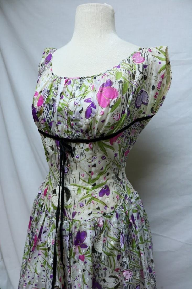 1950's Floral Organza Party Dress - 2