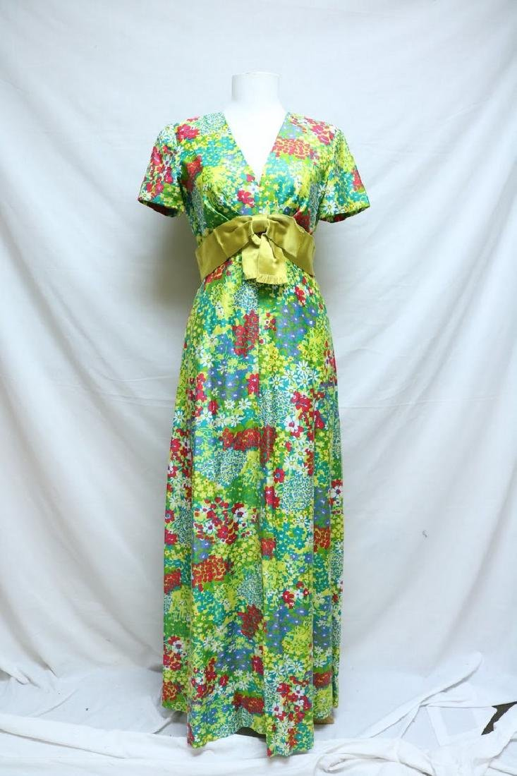 1960's Bright Floral Maxi Dress by Rona