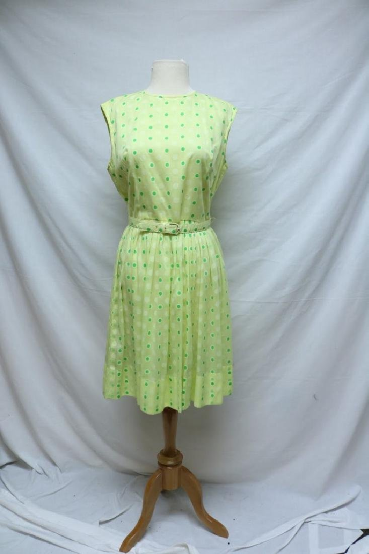 1960's Bright Yellow Green Polka-dot Dress