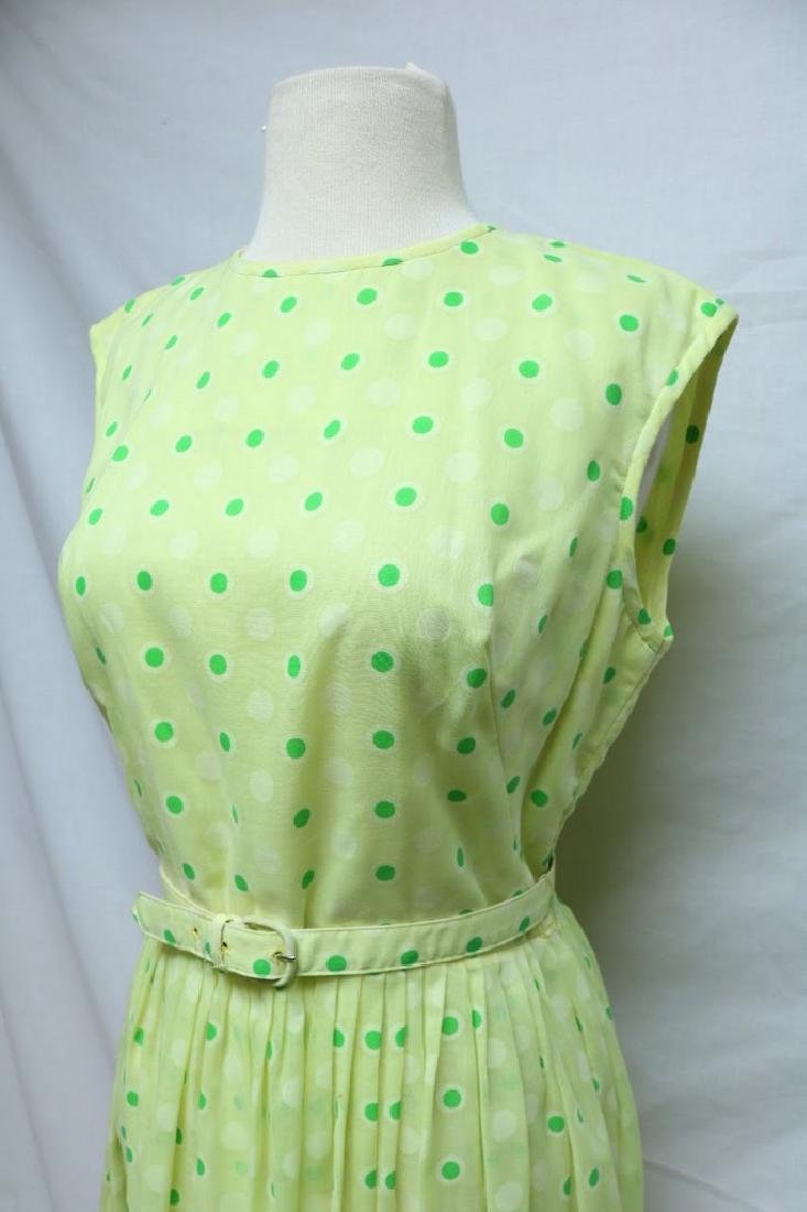 1960's Bright Yellow Green Polka-dot Dress - 2