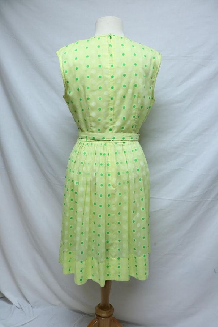 1960's Bright Yellow Green Polka-dot Dress - 3