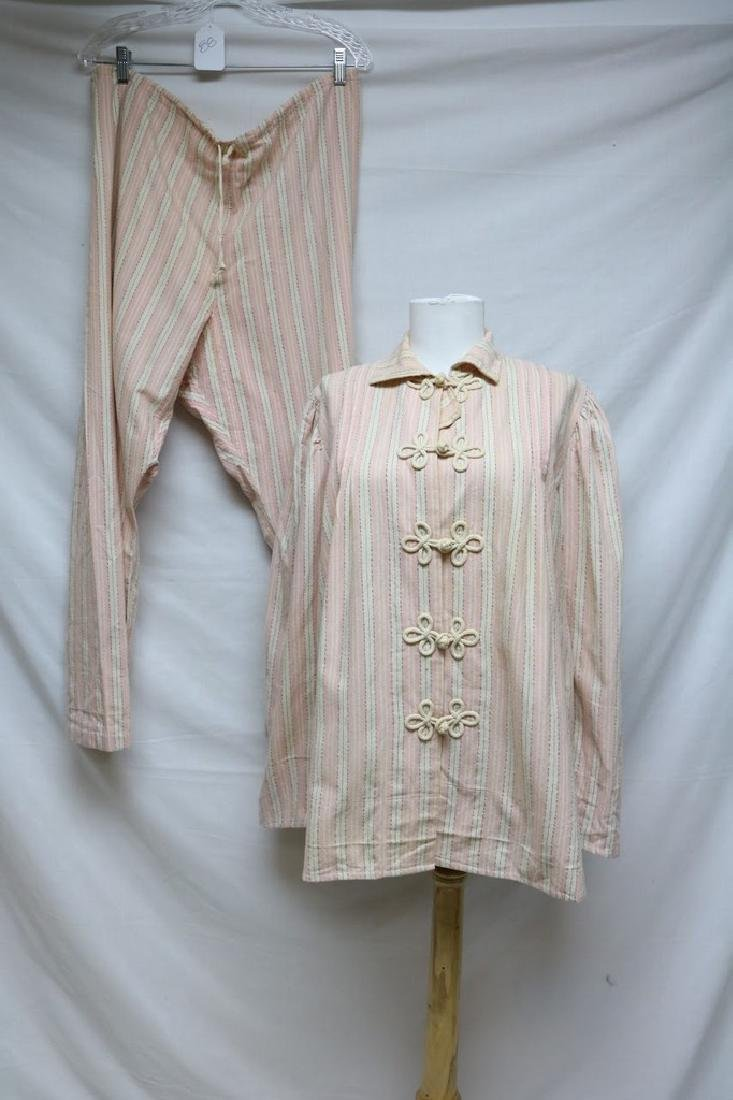 1940's Women's Pink Stripe Flannel Pajama set