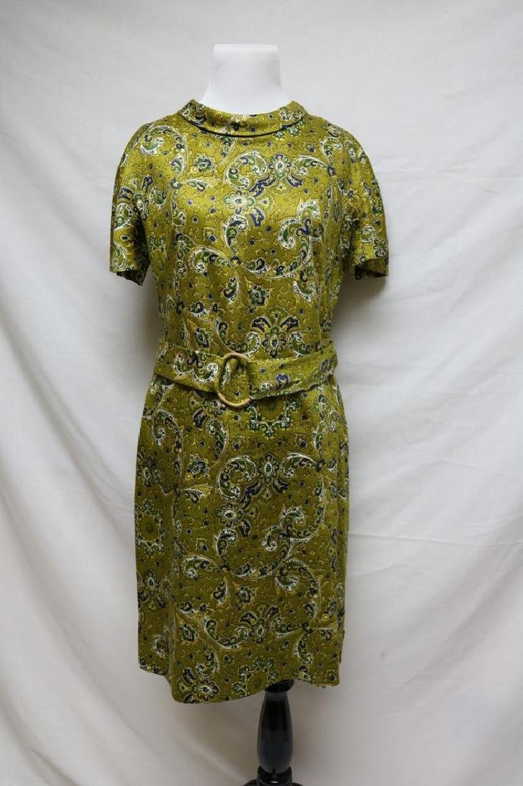 1960's Green Silk Paisley Dress