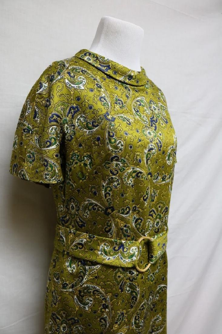 1960's Green Silk Paisley Dress - 2