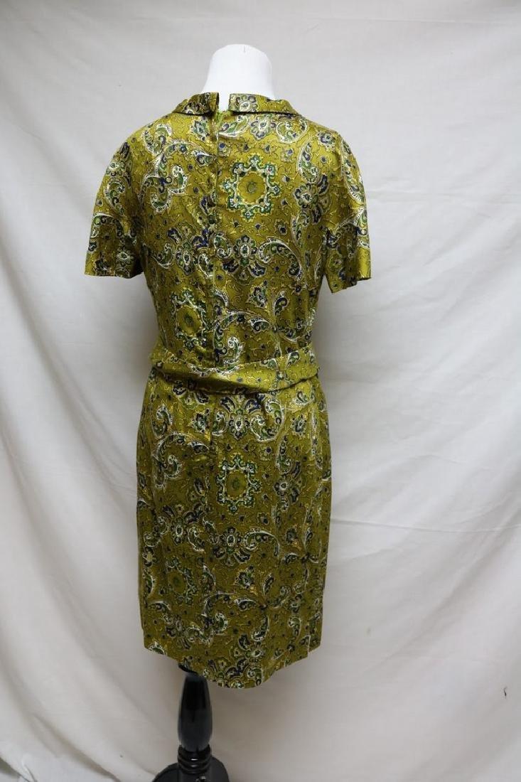 1960's Green Silk Paisley Dress - 3