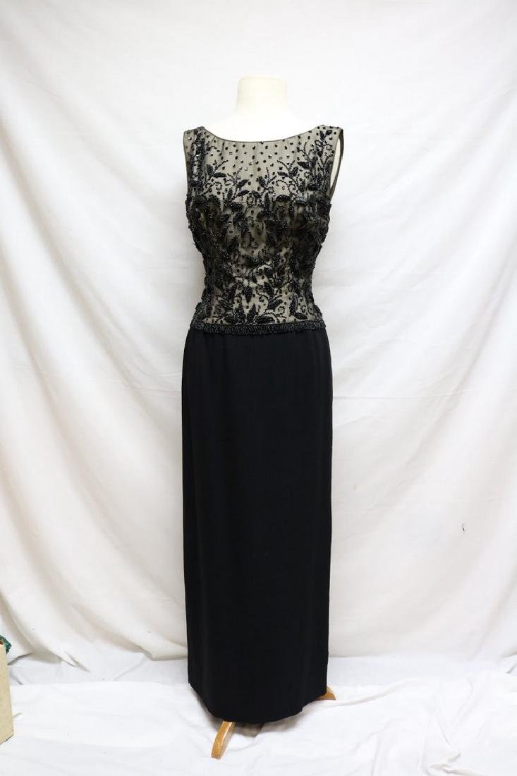 1960's Black Beaded Nude Illusion Gown