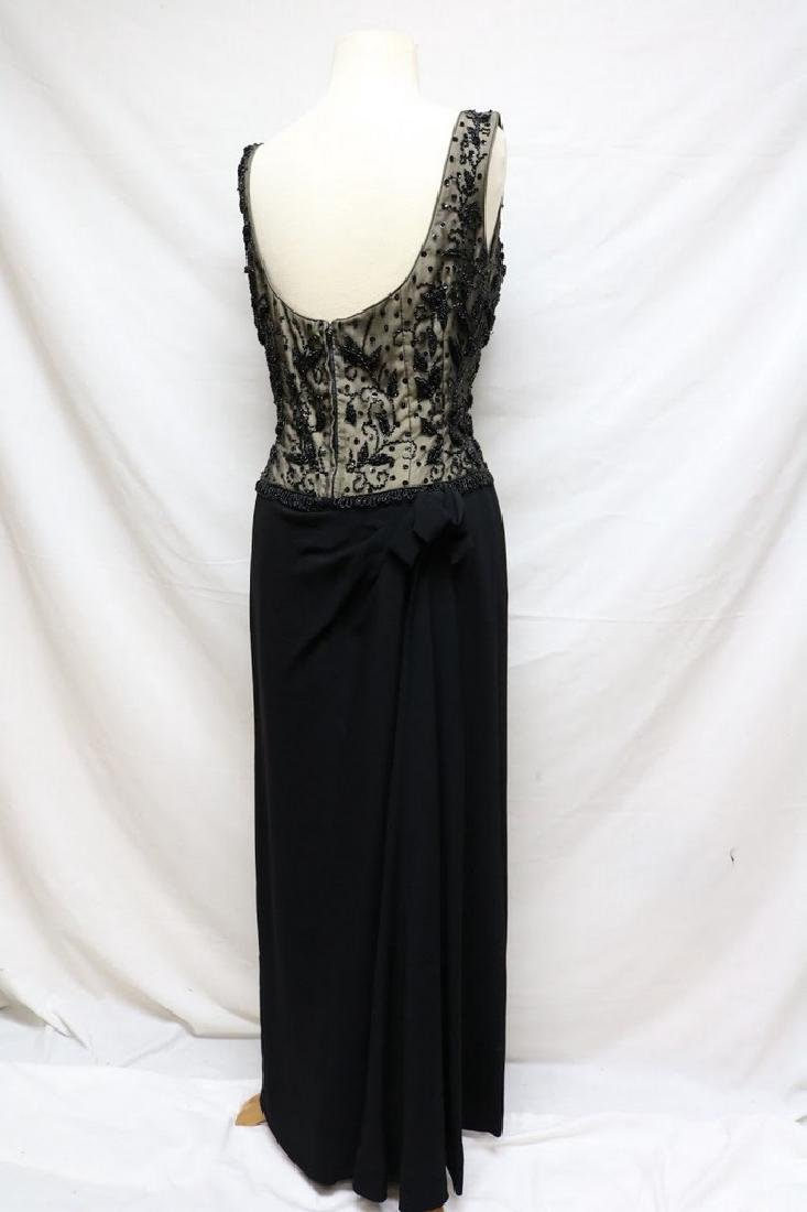1960's Black Beaded Nude Illusion Gown - 3
