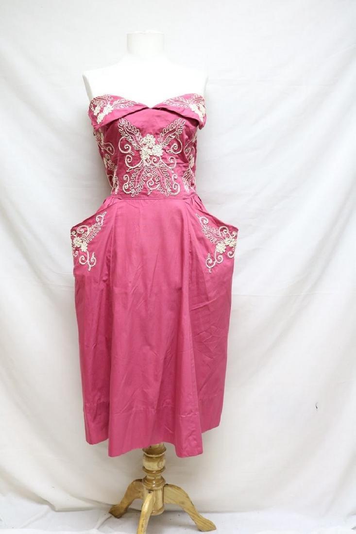 1950's Fuchsia Cotton Strapless Dress with Ivory
