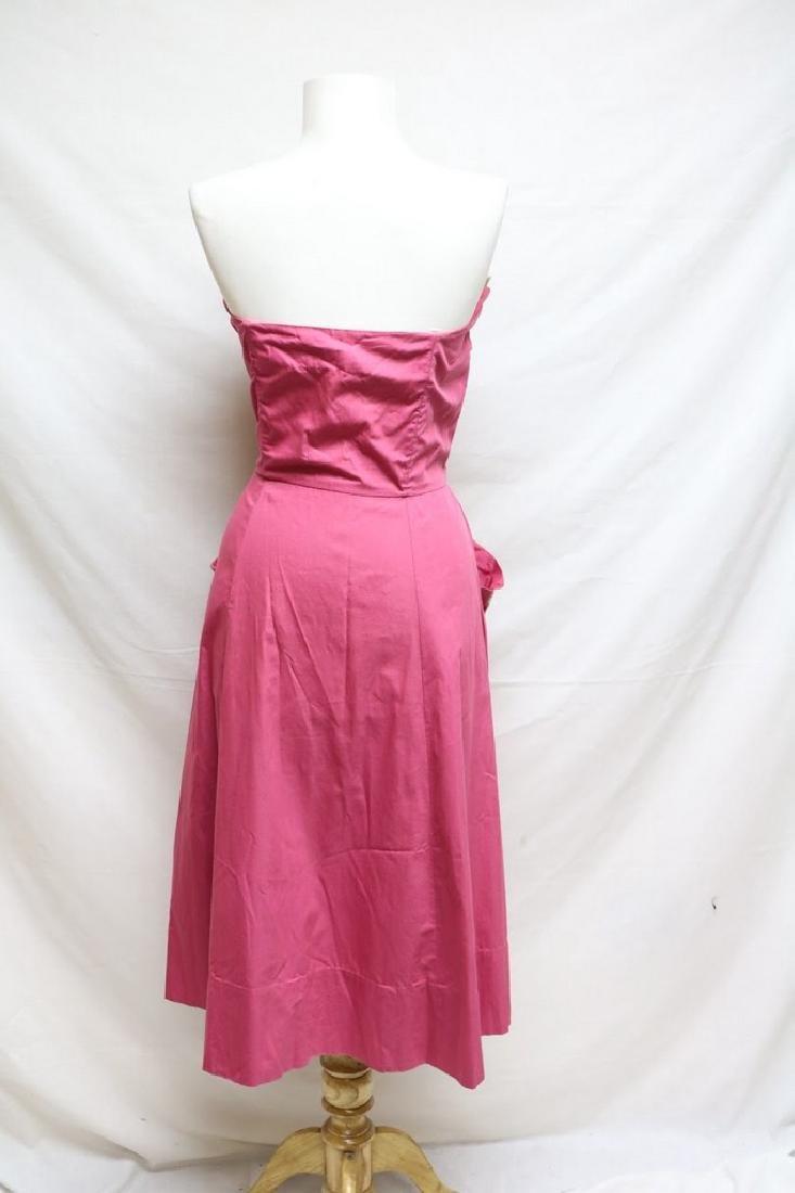 1950's Fuchsia Cotton Strapless Dress with Ivory - 3