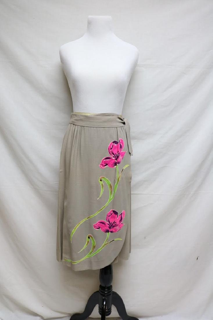 1960's Crepe Wrap Slit with Floral Applique