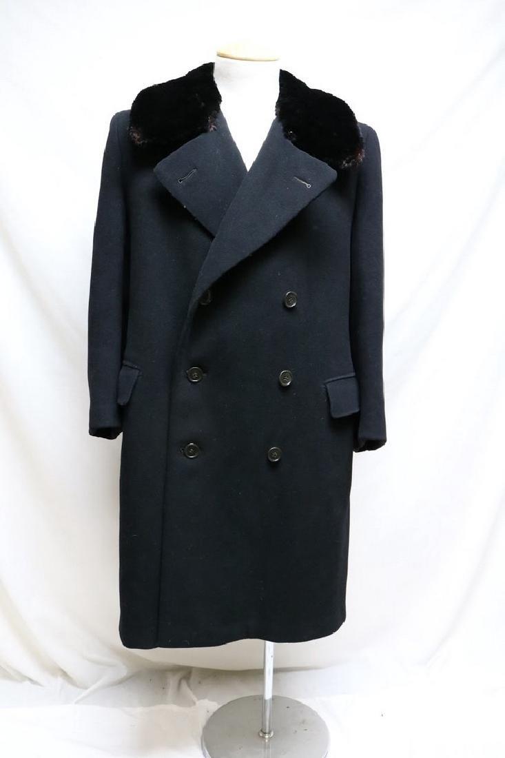 1940s mens black wool overcoat with fur collar