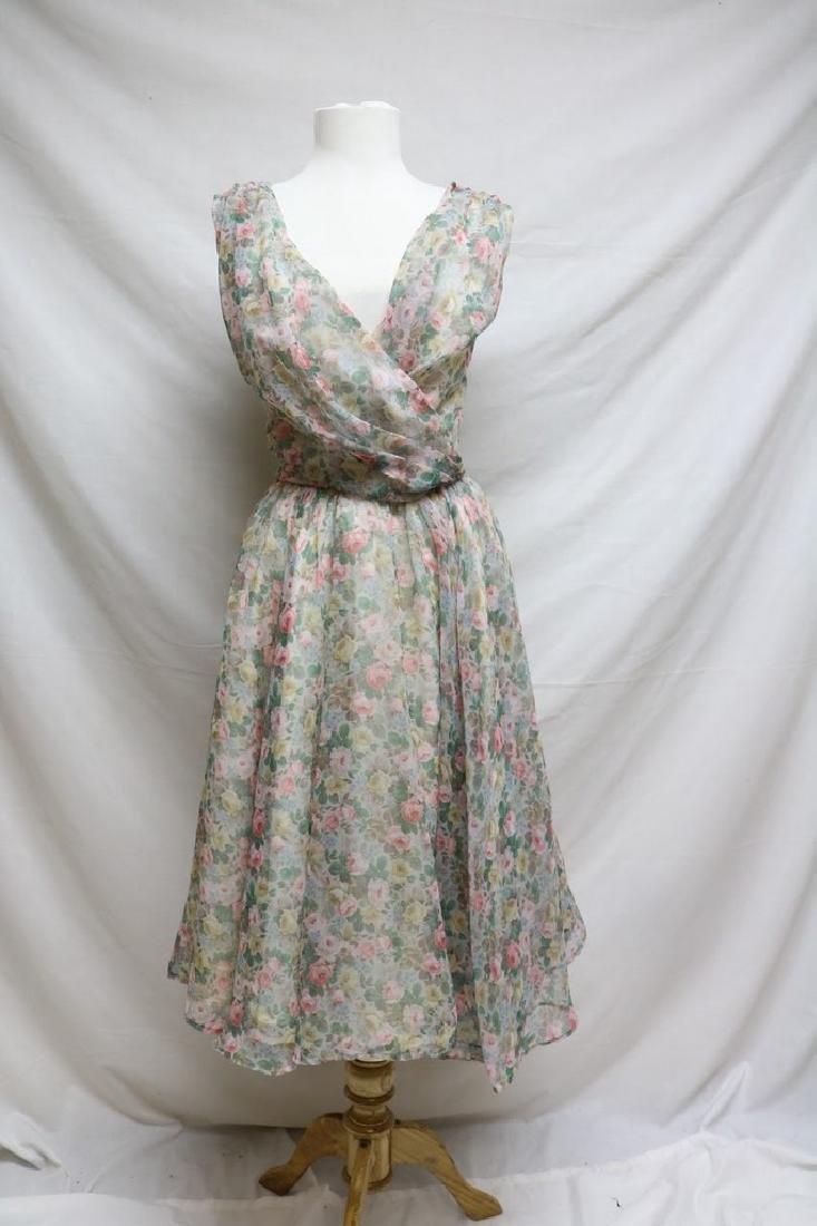 1960s pastel floral chiffon dress