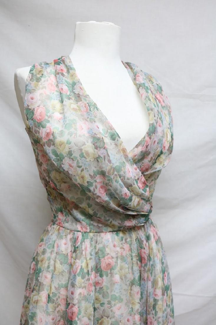 1960s pastel floral chiffon dress - 2