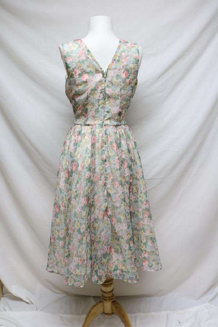 1960s pastel floral chiffon dress - 3