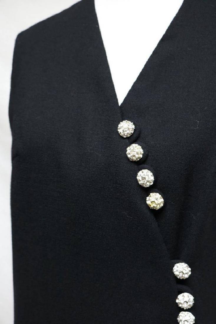 196s black wool crepe dress - 2
