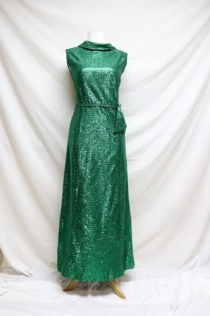 1960s green tinsel sheath dress