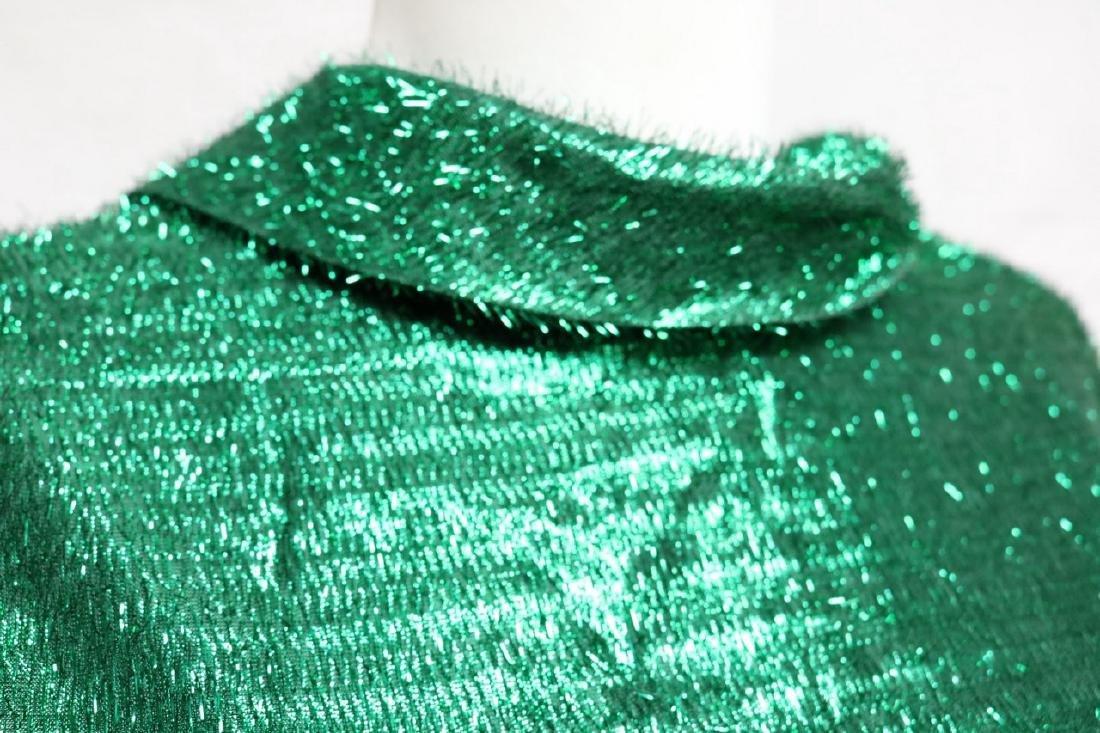1960s green tinsel sheath dress - 3
