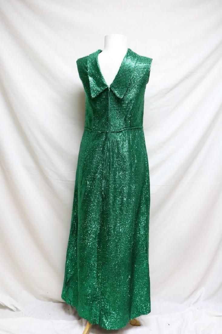 1960s green tinsel sheath dress - 4