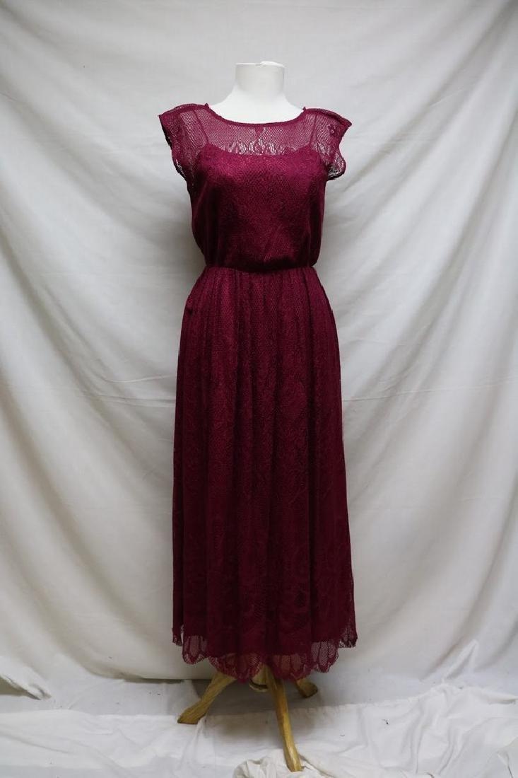1980s cranberry lace dress