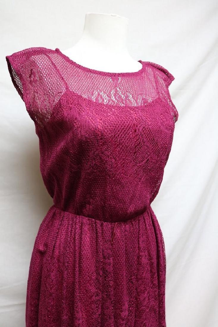 1980s cranberry lace dress - 2