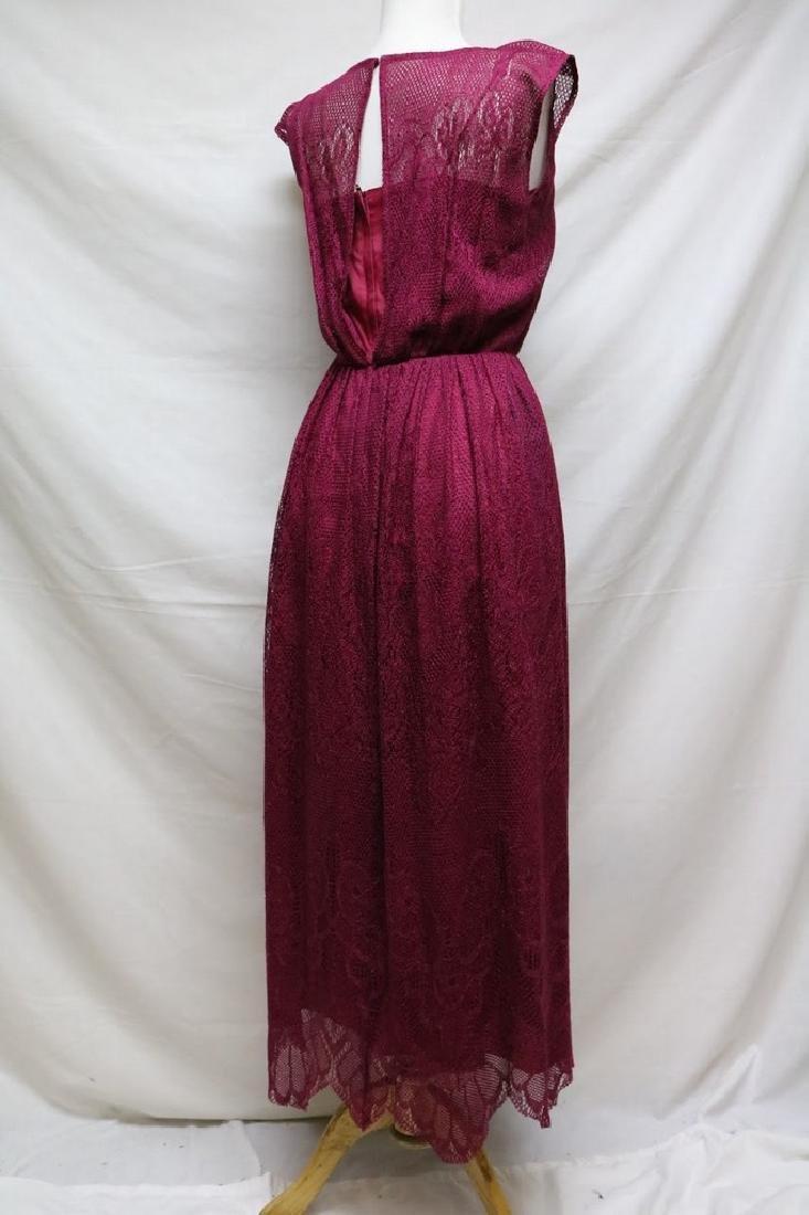 1980s cranberry lace dress - 3