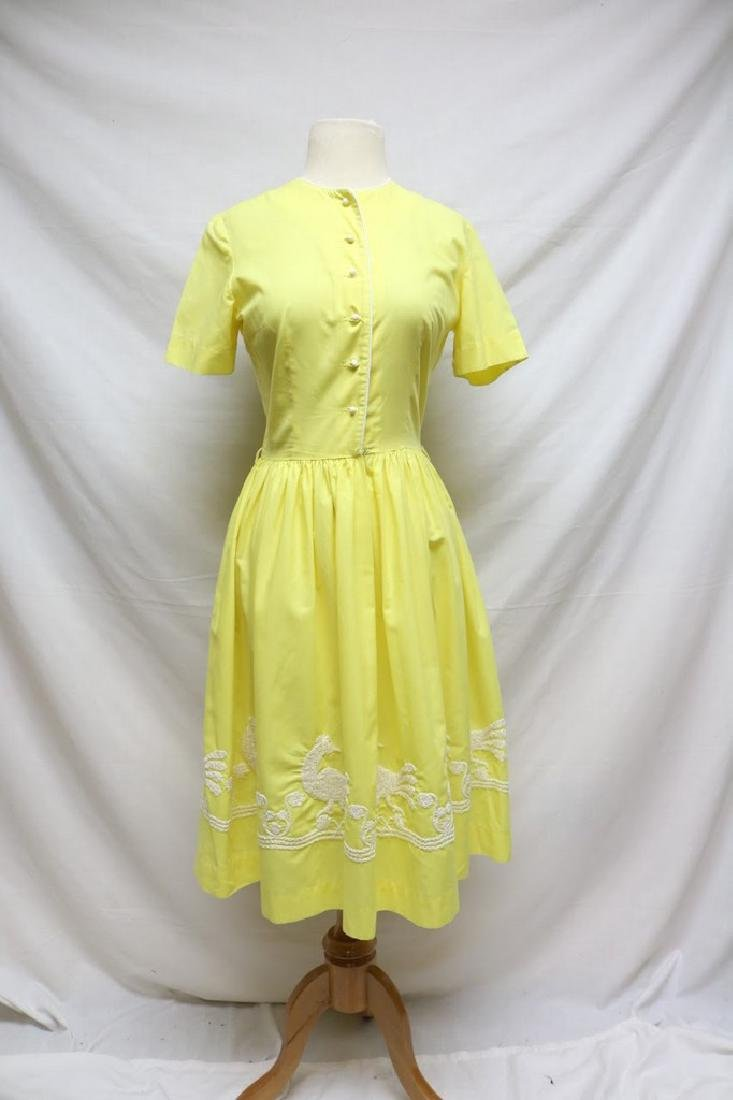 1960s canary yellow dress w/embroidery