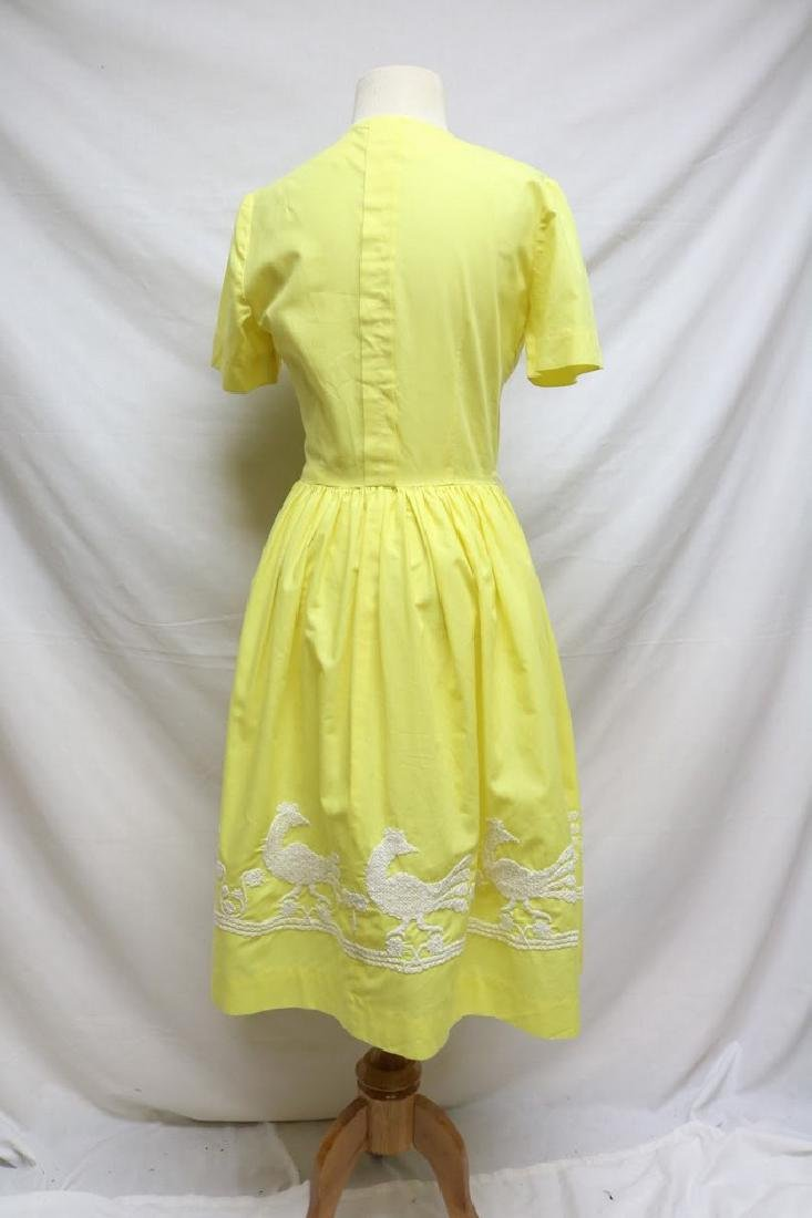 1960s canary yellow dress w/embroidery - 4