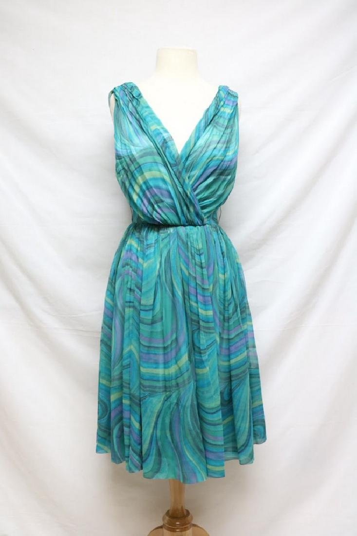1960s teal swirl chiffon dress