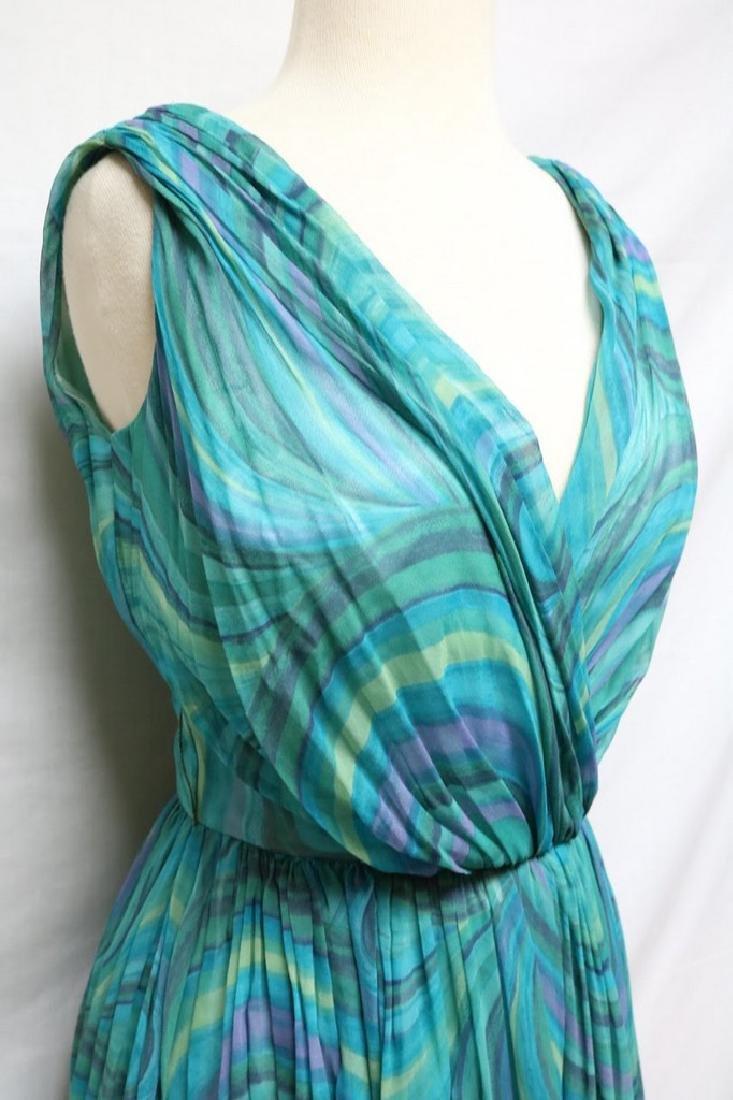 1960s teal swirl chiffon dress - 2