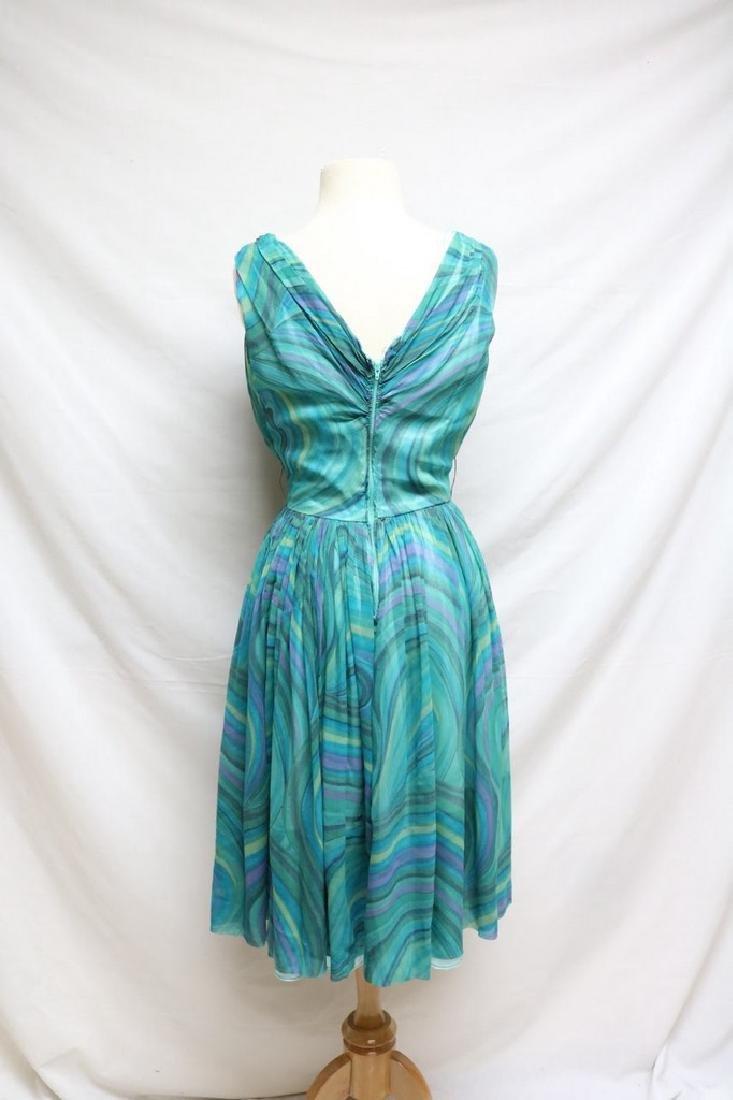 1960s teal swirl chiffon dress - 3