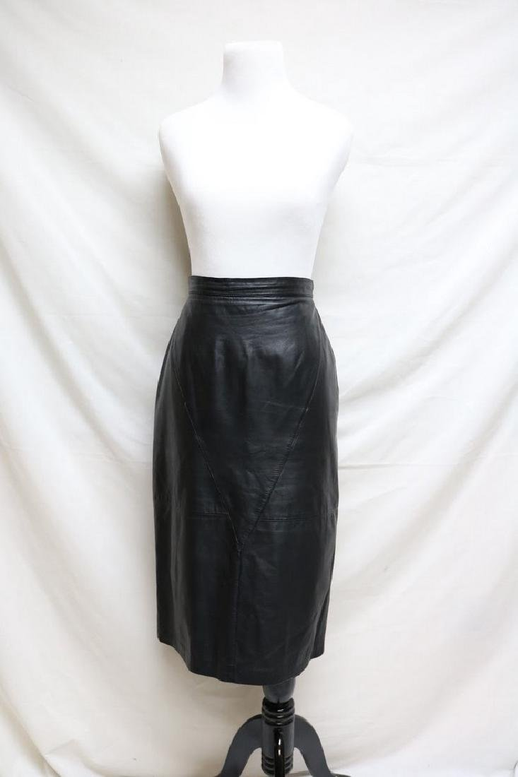 1980s leather pencil skirt