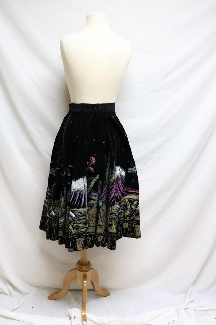 1950s handpainted mexican tourist skirt - 3