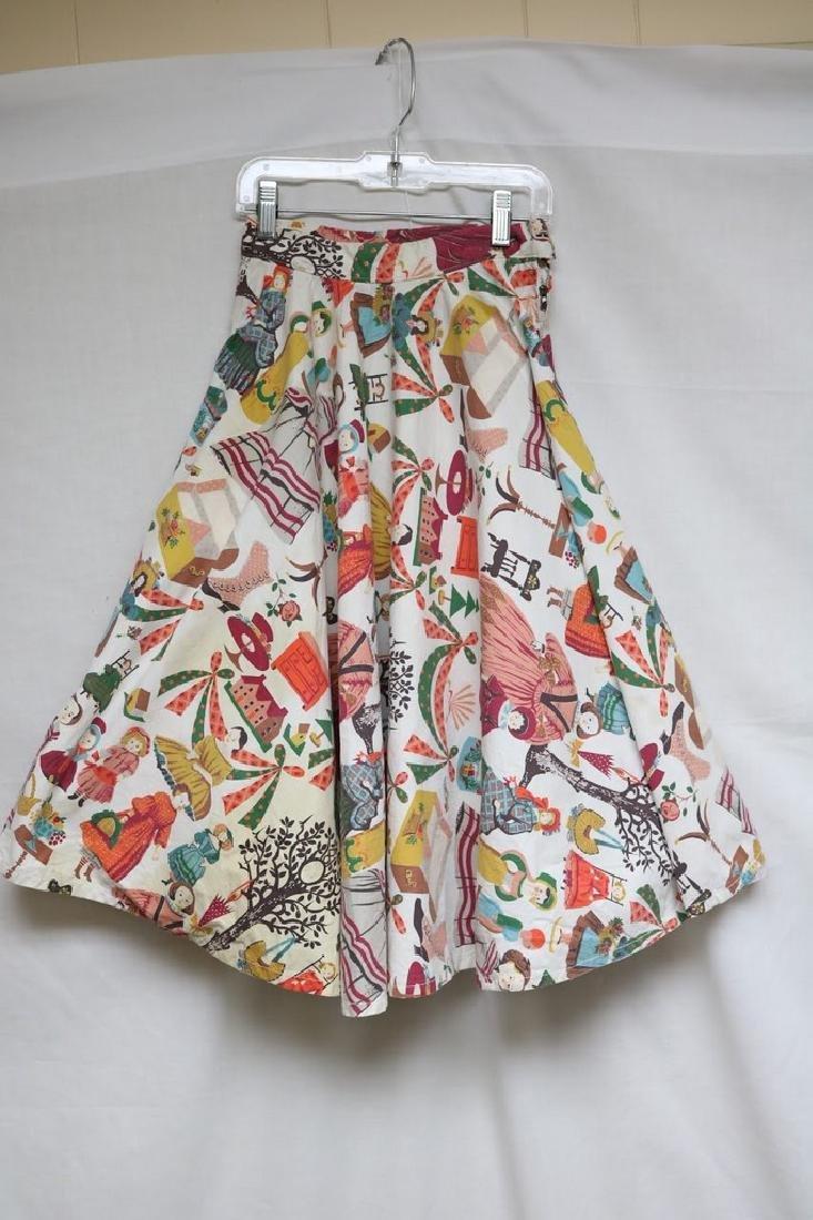 1950s victorian novelty print skirt