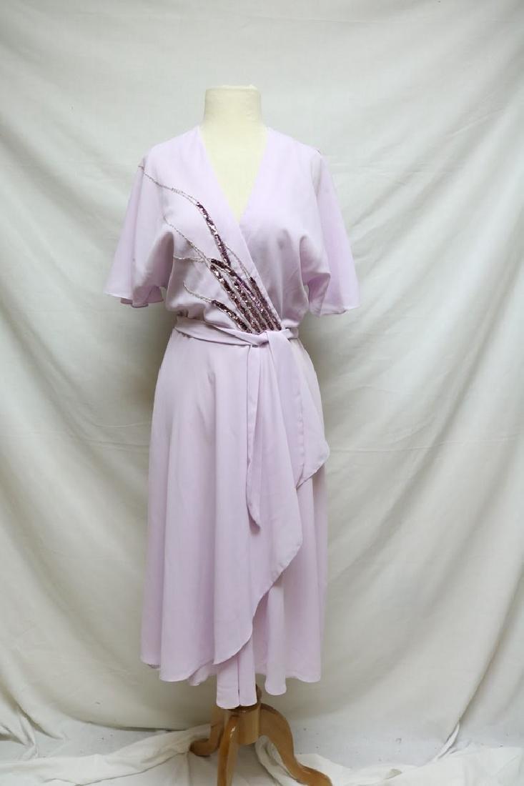1970s lilac chiffon wrap dress