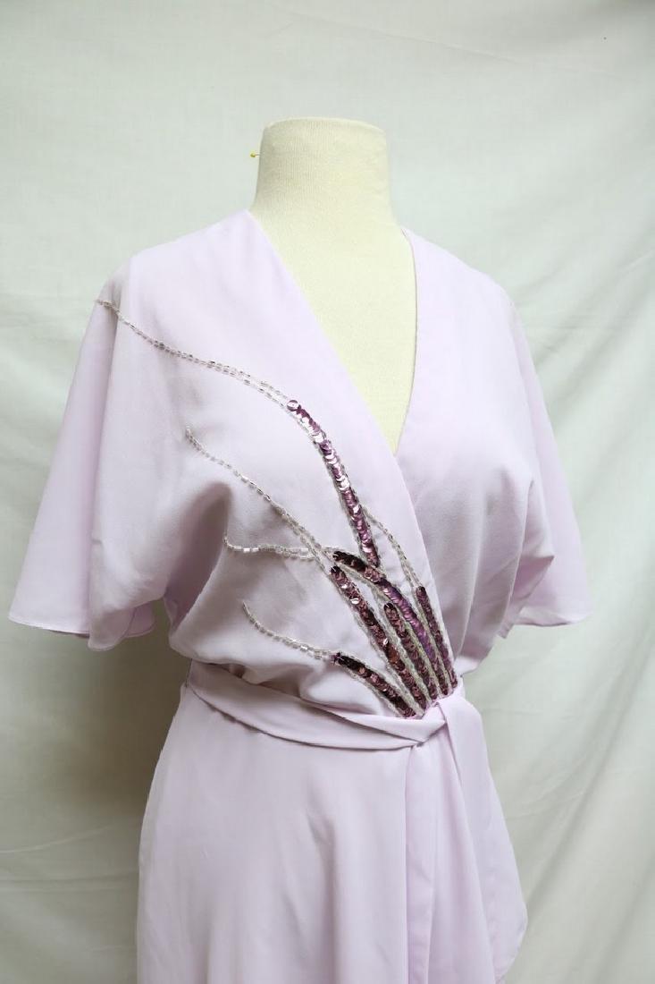 1970s lilac chiffon wrap dress - 2