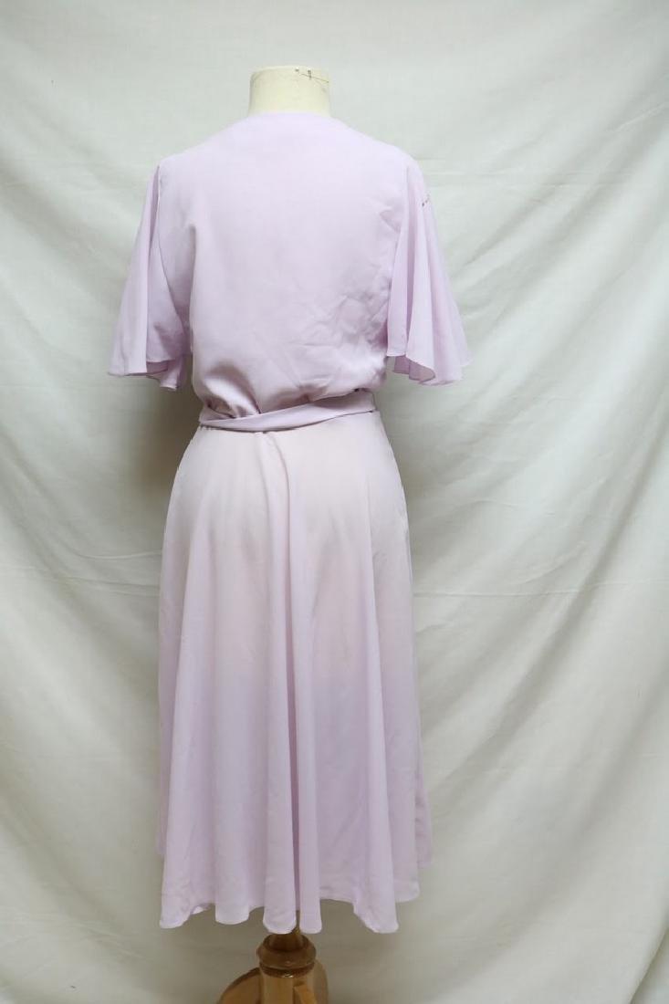 1970s lilac chiffon wrap dress - 3