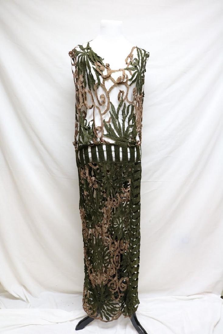 Late Edwardian open silk knit dress