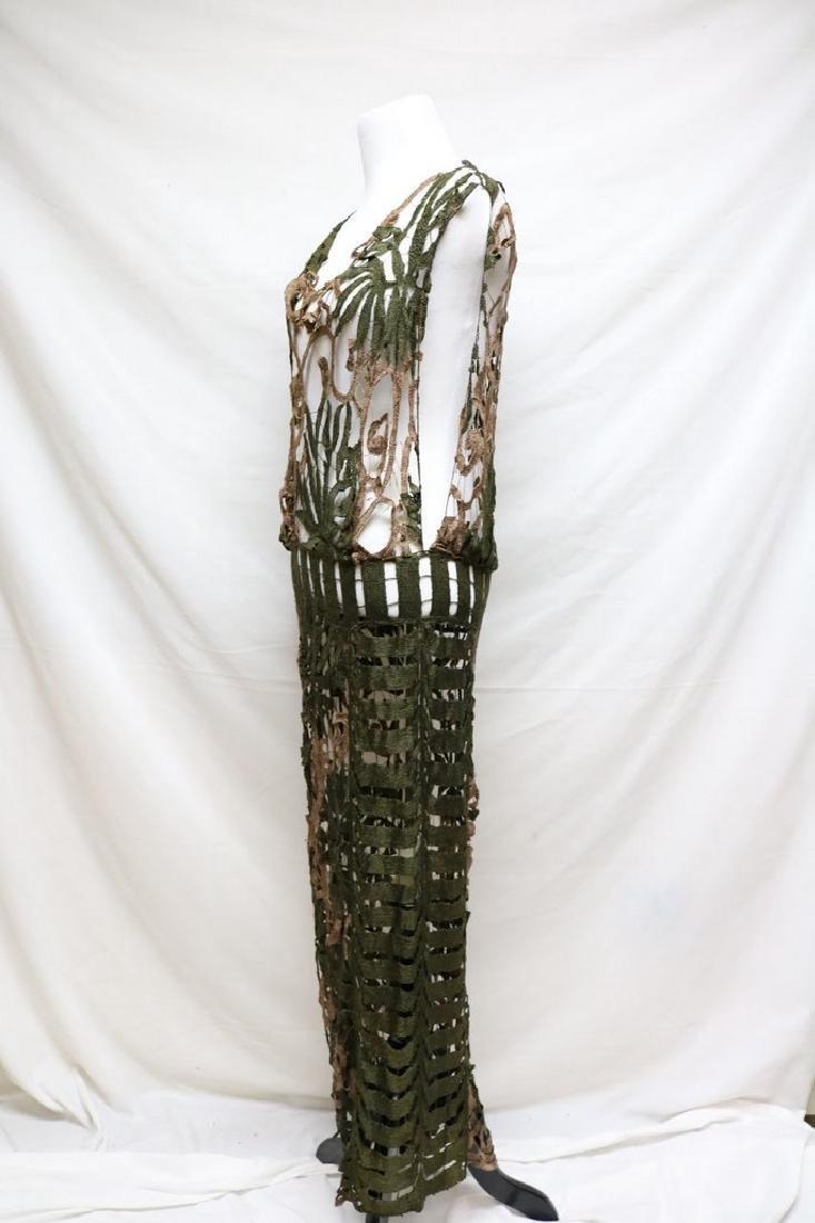 Late Edwardian open silk knit dress - 3